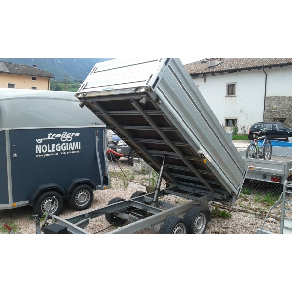 Gbtrailershop carrello ribaltabile trilateraleusato for 2 box auto con officina e soppalco